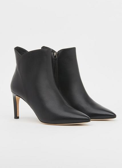 Maja Black Leather Ankle Boots