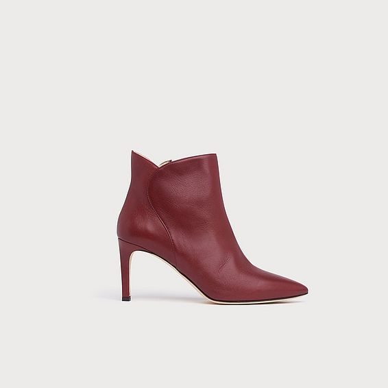 Maja Burgundy Leather Ankle Boots