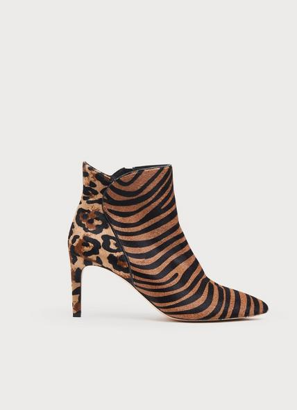 Maja Zebra Print Calf Hair Ankle Boots