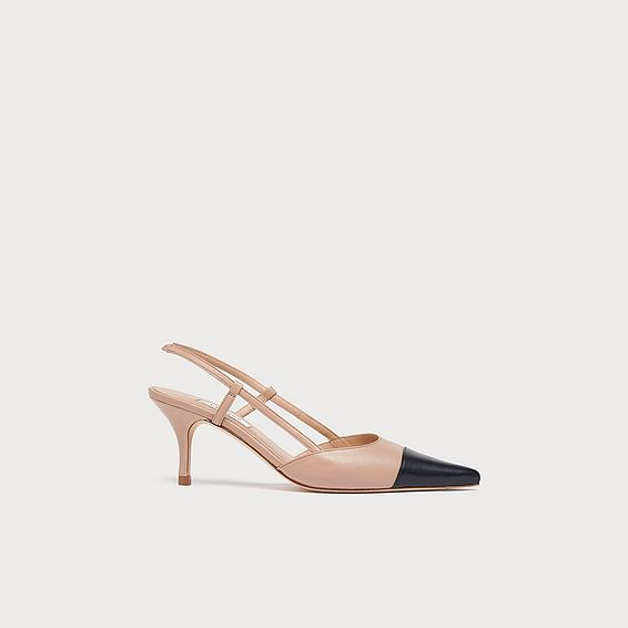 Hally Nude & Black Leather Slingbacks