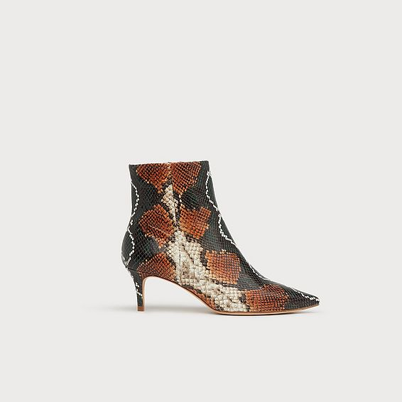 Tamara Orange Snake Print Ankle Boots