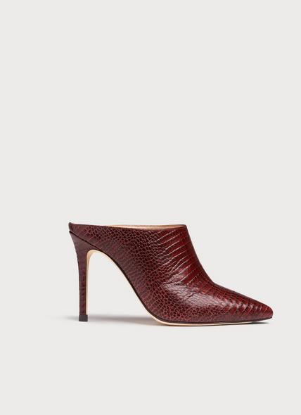 Hannah Burgundy Lizard-Effect Leather Mules