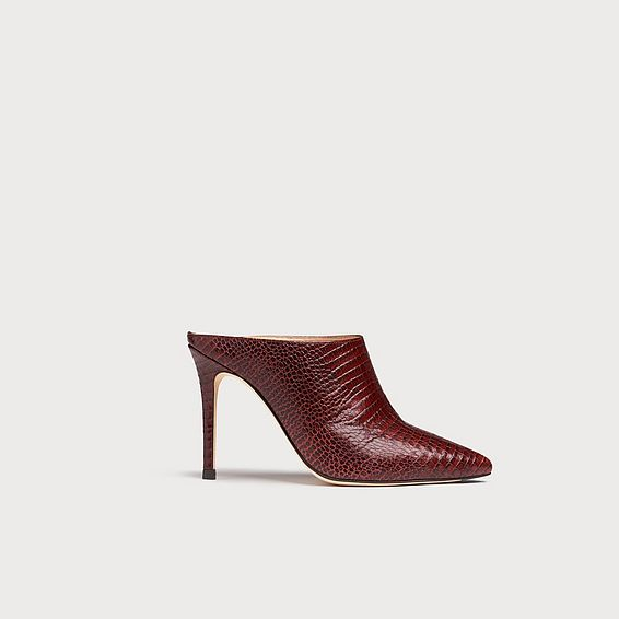 Hannah Burgundy Lizard-Effect Leather Mules