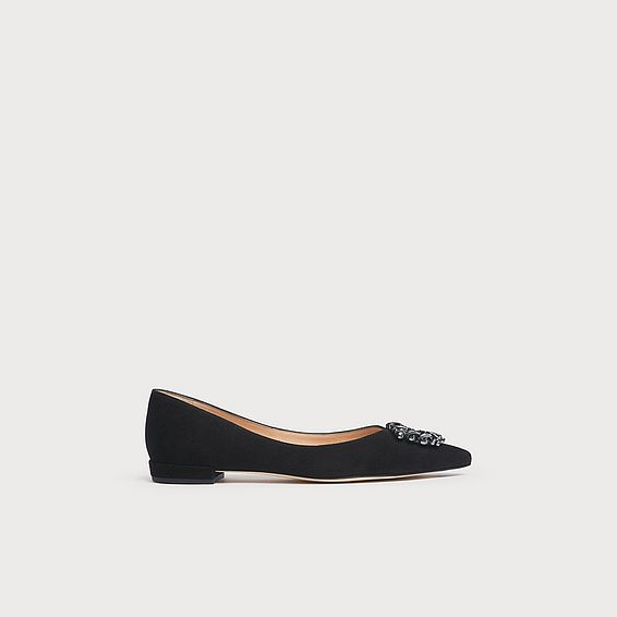 Harlow Black Suede Crystals Pointed Flats
