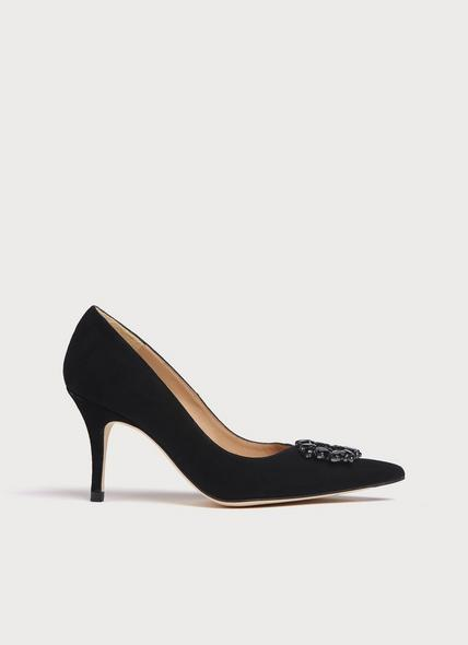 Harmony Black Suede Crystals Pointed Toe Courts