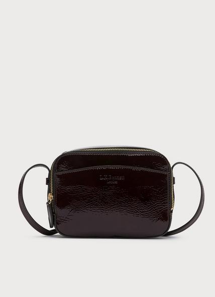 Mariel Burgundy Crinkle Patent Shoulder Bag
