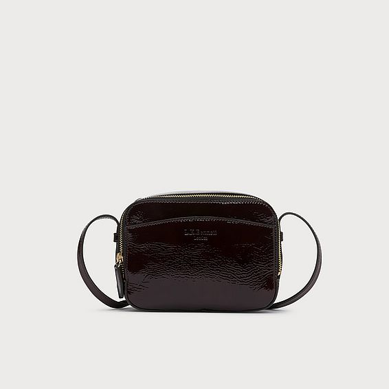 Mariel Burgundy Crinkle Patent Shoulder Bag