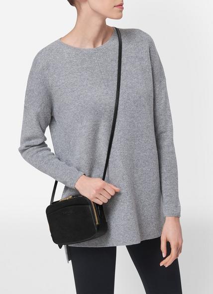 Mariel Black Leather Shoulder Bag