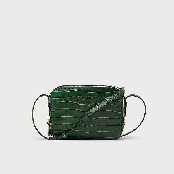 Mariel Green Croc Effect Shoulder Bag