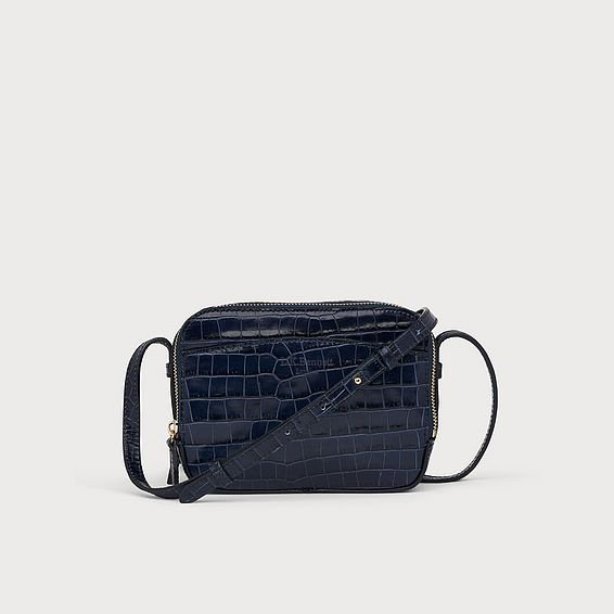 Mariel Navy Croc Effect Shoulder Bag