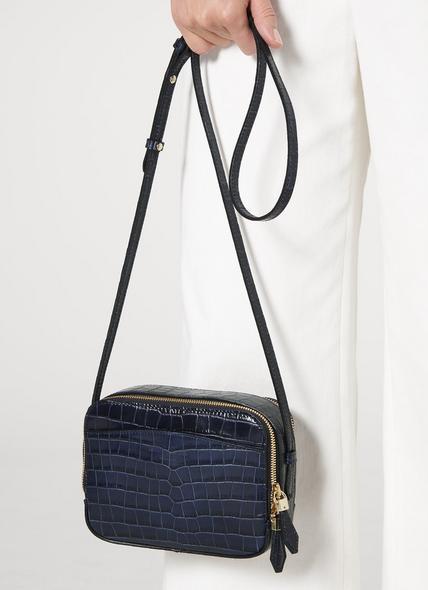 Mariel Navy Croc Effect Shoulder Bag