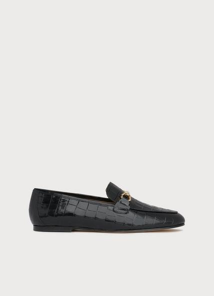 Marina Black Croc-Effect Leather Loafers