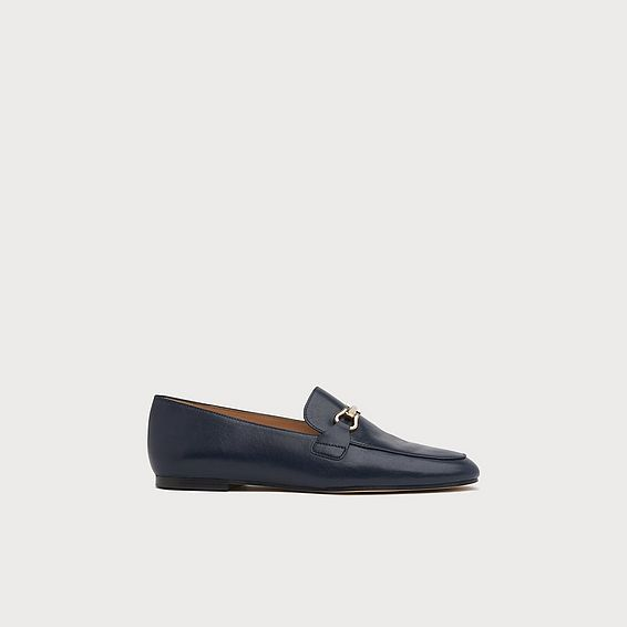 Marina Navy Leather Flats