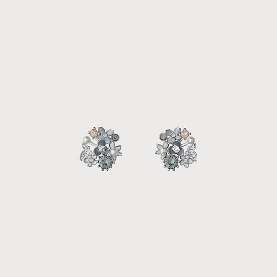 Martha Swarovski Grey Crystal Floral Earrings