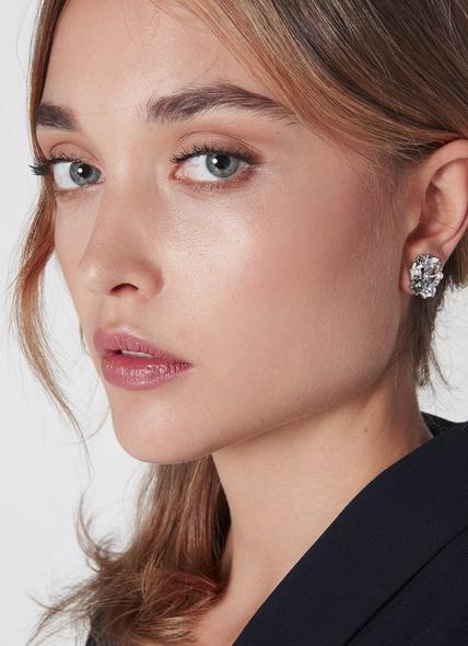 Martha Swarovski Grey Crystal Floral Earrings