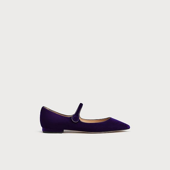 Mary Jane Purple Velvet Flats