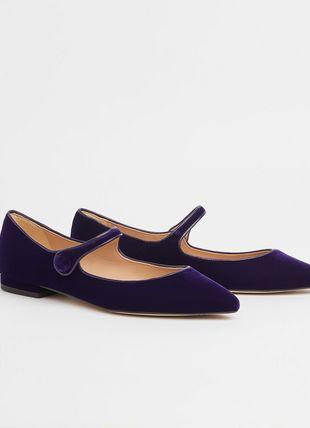Mary Jane Purple Velvet Flats