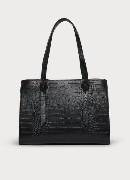 Sasha Black Croc Effect Tote Bag