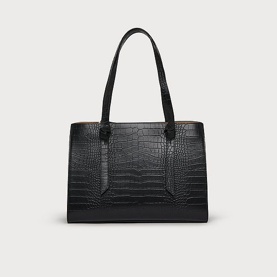 Sasha Black Croc Effect Tote Bag