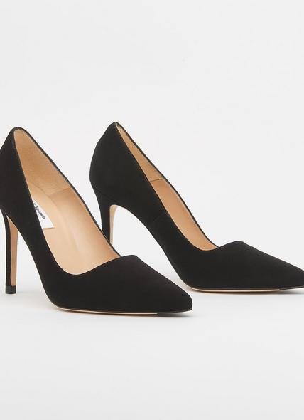 Katie Black Suede Pointed Toe Courts