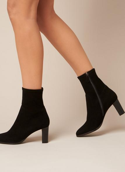 Kayla Black Suede Ankle Boots