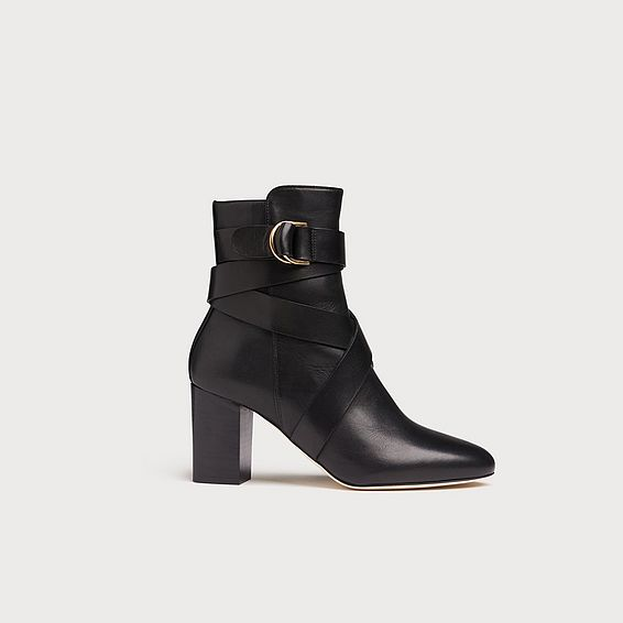 Raya Black Leather Ankle Boots