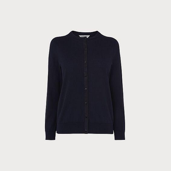 Madeline Navy Silk Cotton Cardigan
