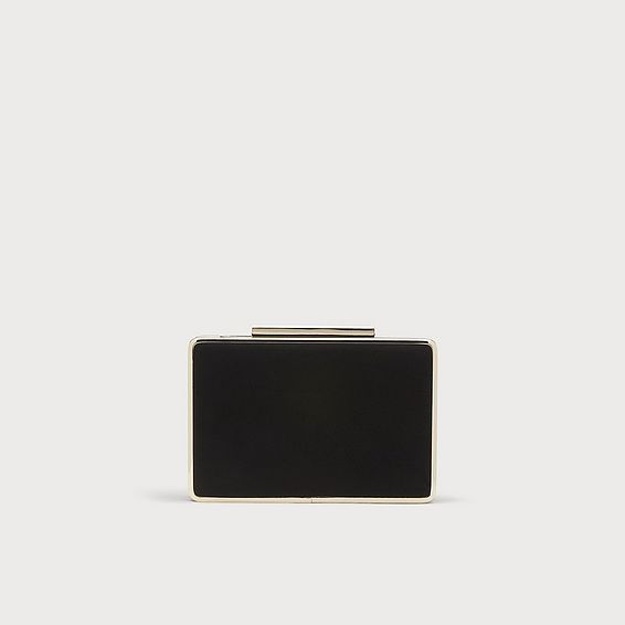 Nina Black Suede Clutch