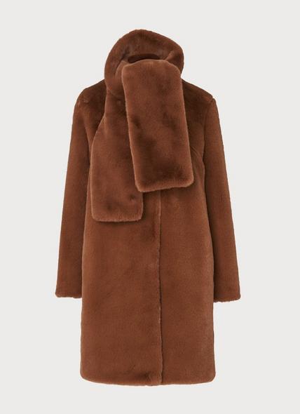 Aspen Brown Faux Fur Coat