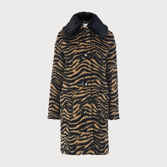 Aster Zebra Print Faux Fur Collar Coat