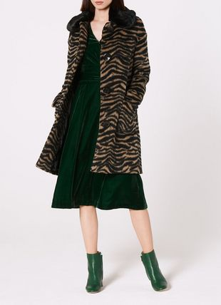 Aster Zebra Print Faux Fur Collar Coat
