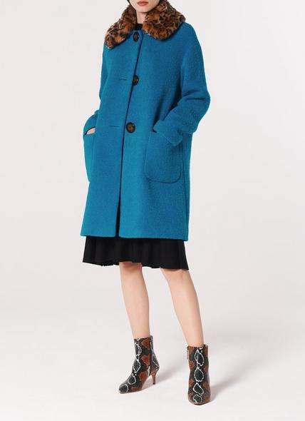 Aster Turquoise Boucle Faux Fur Collar Coat