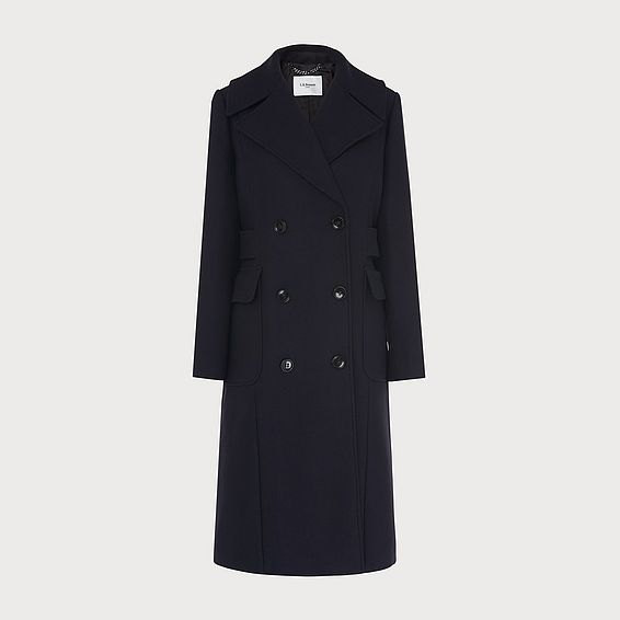 Aurelia Navy Wool-Blend Coat