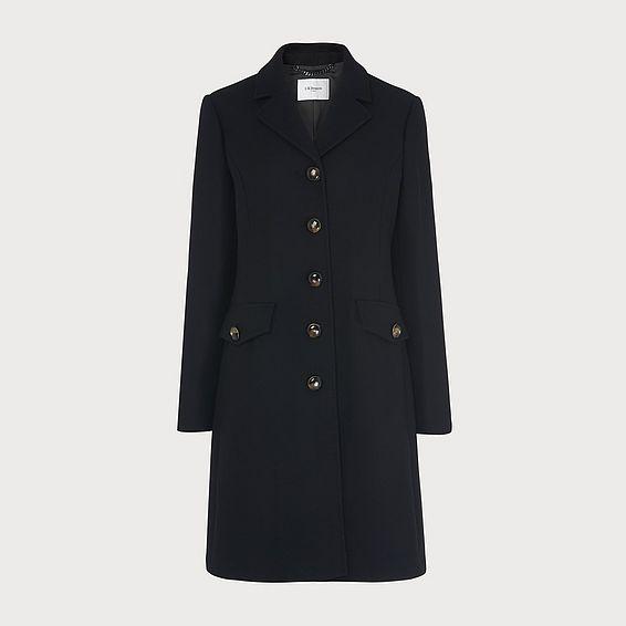 Eleanor Black Wool Blend Pea Coat