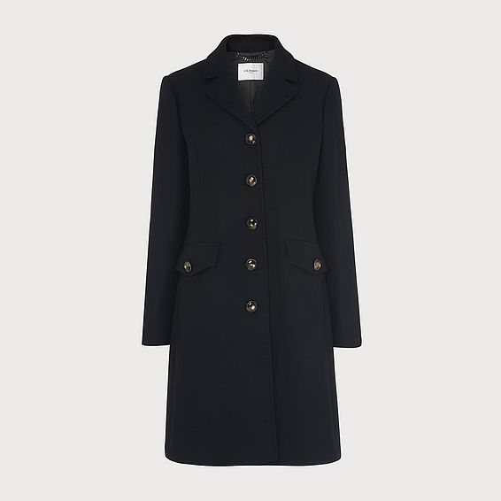 Eleanor Black Wool-Blend Pea Coat