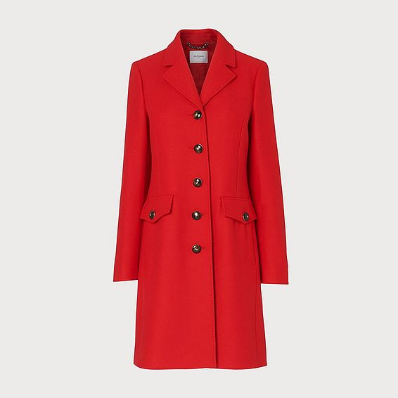 Eleanor Red Wool-Blend Pea Coat