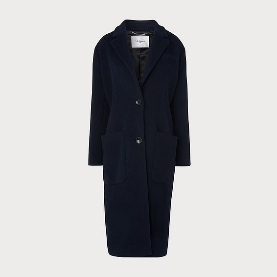 Finsbury Navy Wool-Blend Crombie Coat