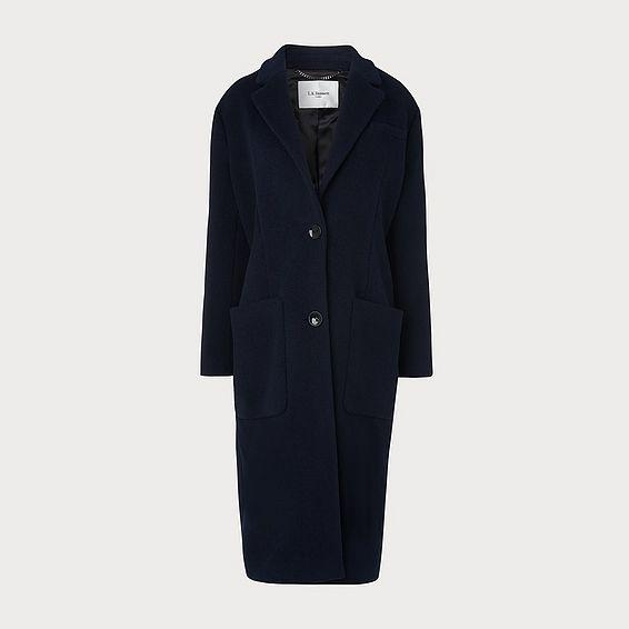 Finsbury Navy Wool-Blend Crombie Coat