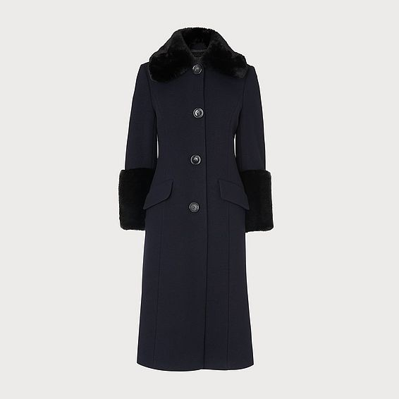 Franklin Navy Wool-Blend Faux Fur Detail Coat