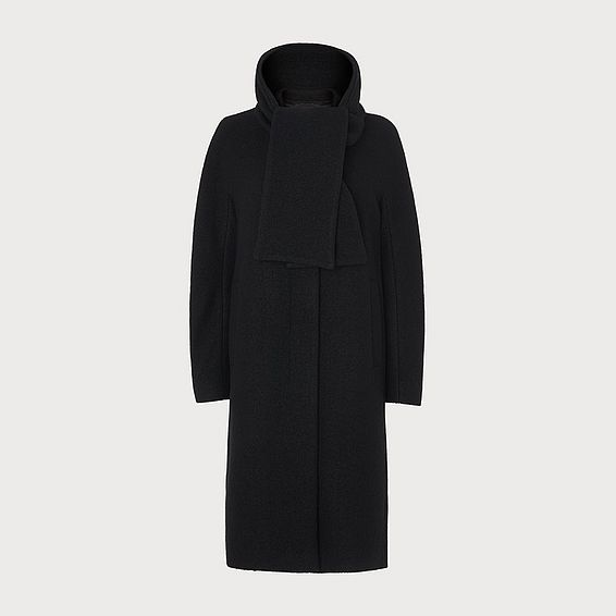 Mimi Black Wool Cocoon Coat