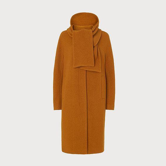 Mimi Ochre Wool Cocoon Coat
