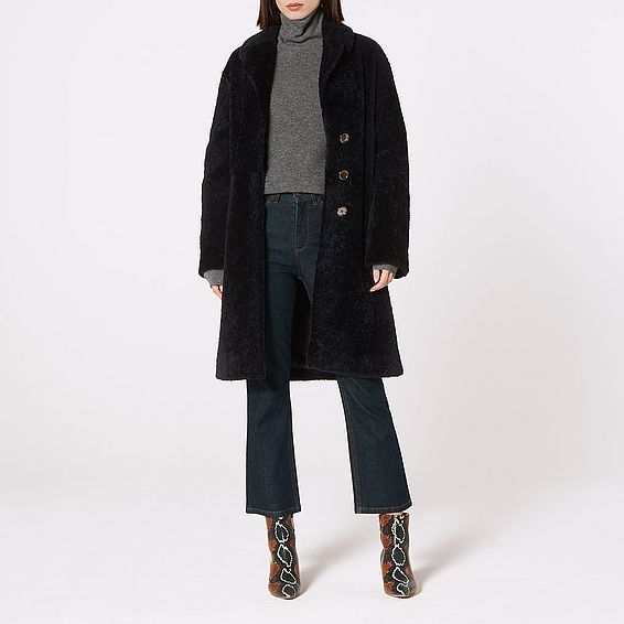 Oscar Navy Shearling Coat