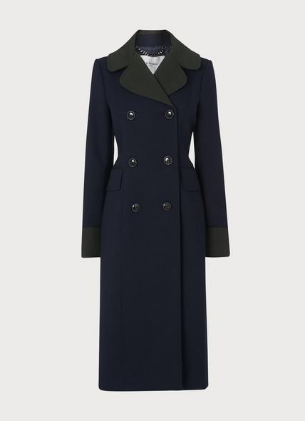 Penny Navy Contrast Collar Long Coat