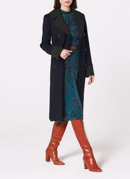 Penny Navy Contrast Collar Long Coat