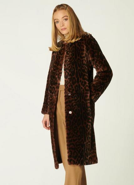 Sable Leopard Print Shearling Coat