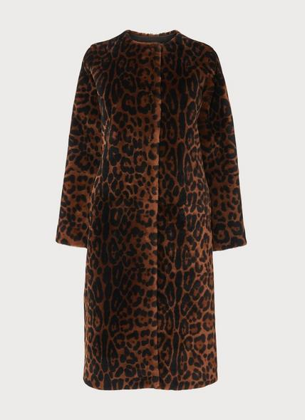 Sable Leopard Print Shearling Coat