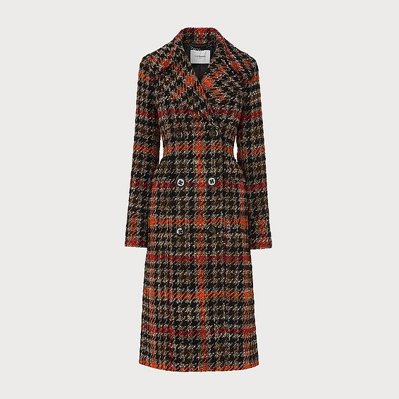 Syble Orange Long Double Breasted Check Coat