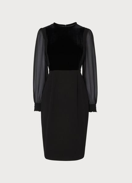 Aggie Black Velvet Crepe Dress