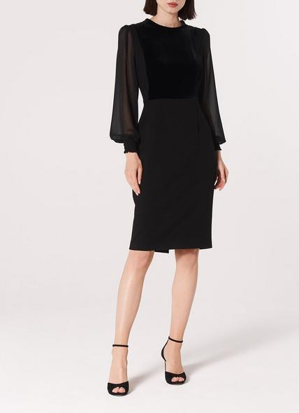 Aggie Black Velvet Crepe Dress