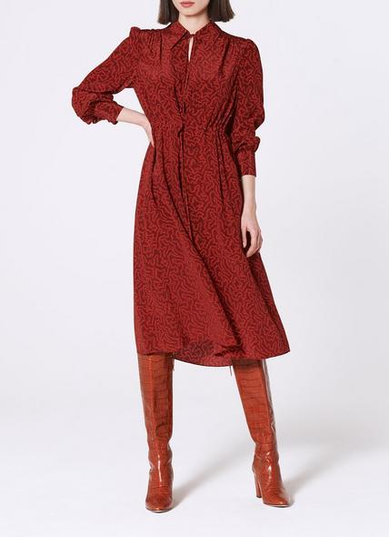Amelie Coral Print Red Tie Neck Silk Dress